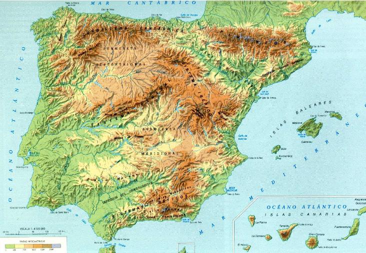 reliefkaart Spanje