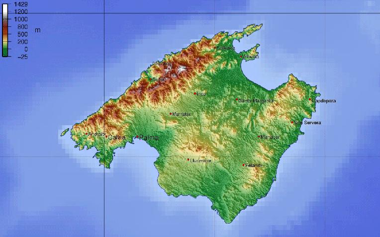 Reliefkaart Mallorca
