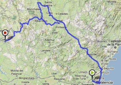 overzichtskaartje fietsroutes ojos negros Teruel Cuenca