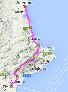 fietsroute Alicante Valencia