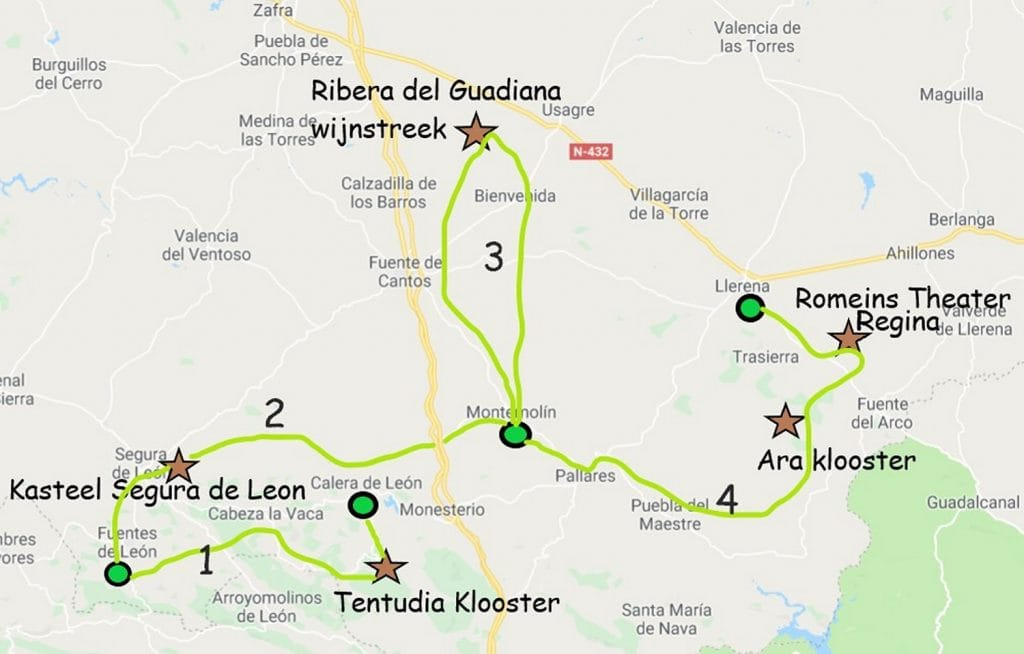 fietsroute in Zuid Extremadura